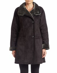 Gallery Faux Shearling Trimmed Coat Black