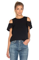 Rebecca Taylor Short Sleeve Open Shoulder Crop Top Black