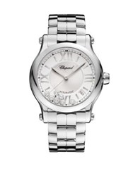 Chopard Happy Sport Diamond And Stainless Steel Bracelet Watch Silver