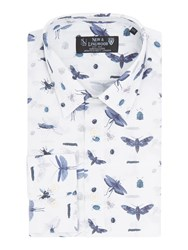 New And Lingwood Men's Harrow Print Shirt With Classic Collar White