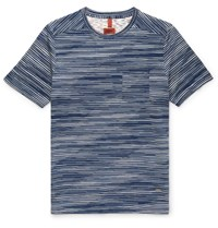 Missoni Striped Knitted Cotton T Shirt Navy