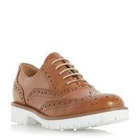 Dune Fawna White Cleated Sole Leather Brogues Tan