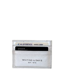Whiting And Davis Brass Metal Mesh Faux Leather Credit Card Holder Silver