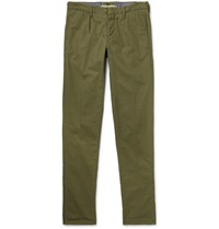 Incotex Slim Fit Pleated Cotton Trousers Army Green