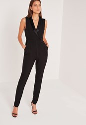 Missguided Tall Exclusive Tux Detail Jumpsuit Black Black