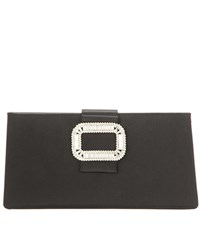 Roger Vivier Tiffany Embellished Satin Clutch Black