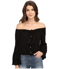 Culture Phit Coralee Woven Top With Tassels Black Women's Clothing
