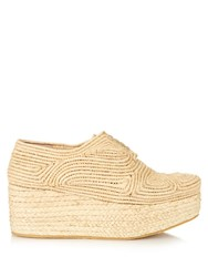 Robert Clergerie Pinto Woven Raffia Lace Up Flatform Shoes Beige
