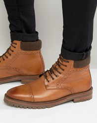 Asos Brogue Boots In Tan Leather With Cleated Sole Tan
