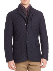 Luciano Barbera Quilted Wool Blend Jacket Navy