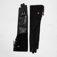 River Island Womens Black Suede And Leather Gloves