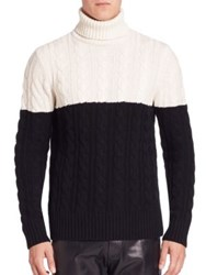 Ovadia And Sons Cable Knit Turtleneck Mercerized Wool Cashmere Sweater Cream Black