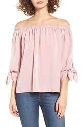 Soprano Women's Tie Sleeve Off The Shoulder Top Blush