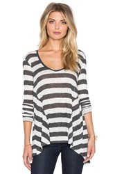 Lamade Pointelle Stripe Gia Long Sleeve Top Gray