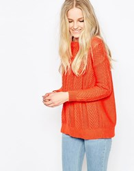 Vila Grow Cable Knit Jumper In Red Red White