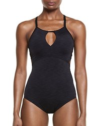 Nike Heathered Crossback One Piece Black