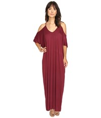 Culture Phit Khayla Cold Shoulder Maxi Dress Wine Women's Dress Burgundy