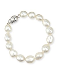 18K White Gold South Sea Baroque Pearl Bracelet Assael