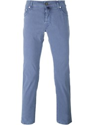 Jacob Cohen Stretch Fabric Straight Leg Chinos Blue