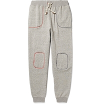 Band Of Outsiders Contrast Stitched Loopback Cotton Jersey Sweatpants Gray