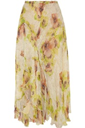 Isabel Marant Rebel Crinkled Silk Chiffon Midi Skirt White