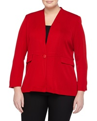 Misook Stretch Knit Peplum Blazer Cardinal Red