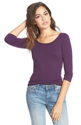 Junior Women's Frenchi Scoop Neck Tee Purple Cordial