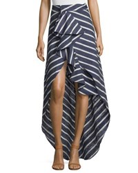 Johanna Ortiz High Low Striped Silk Midi Skirt Navy