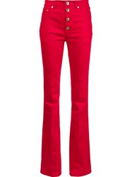 Sonia Rykiel High Waisted Flare Pants Red