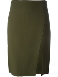 Versace 'Thigh High Slit' Pencil Skirt Green