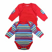 Toby Tiger Bold Stripe Baby T Shirt 2 Pack Red