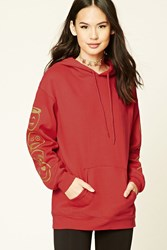 Forever 21 Graphic Drawstring Hoodie Red Yellow