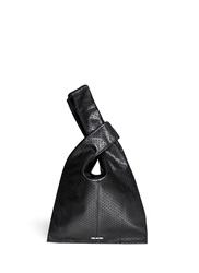 Mcq By Alexander Mcqueen 'Plath' Perforated Leather Shopping Tote Black