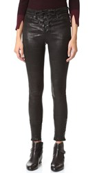Rag And Bone High Rise Lace Up Leather Pants Washed Black