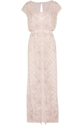 Needle And Thread Aura Chiffon And Satin Maxi Dress Nude