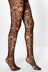 Boohoo Floral Lace Fishnet Tights Black
