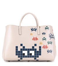 Anya Hindmarch Ebury Maxi Space Invaders Leather Shopper Beige