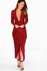 Boohoo Plunge Rouched Detail Maxi Dress Berry