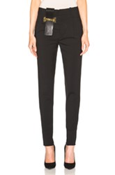 Anthony Vaccarello Classic Pants With Vertical Belt In Black