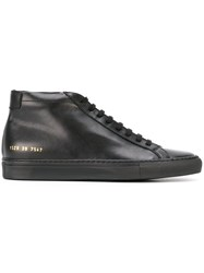 Common Projects Gold Tone Detailing Hi Tops Black