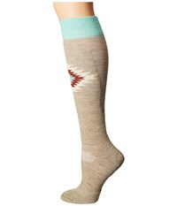 Fits Light Ski Over The Calf Oatmeal Women's Crew Cut Socks Shoes Brown