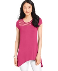 Cable And Gauge Handkerchief Hem Illusion Tee Berry