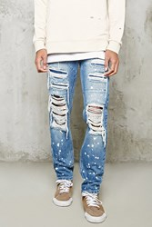 Forever 21 Distressed Slim Fit Jeans Denim Washed