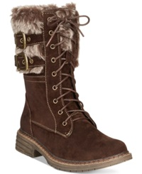 Wanted Pilsner Lace Up Faux Fur Booties Women's Shoes Brown