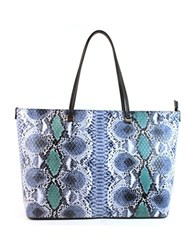 Christian Siriano Sabrina Vegan Leather Shopper Tote Stone Blue