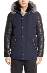 Point Zero Men's M. Benisti Water Resistant Down Jacket With Genuine Silver Fox Fur And Rabbit Fur Trim Navy Silver Fox
