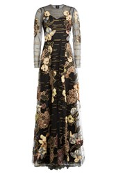 Valentino Kimono 1997 Hand Embroidered Tulle Gown Multicolor