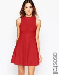 Asos Tall High Neck Empire Dress Red