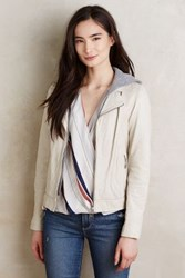 Anthropologie Hooded Leather Moto Jacket Taupe