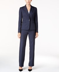 Le Suit One Button Pinstriped Pantsuit Navy Yellow